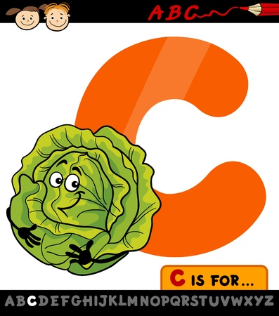 Cartoon Illustration of Capital Letter C from Alphabet with Cabbage for Children Education Vector