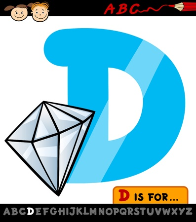 Cartoon Illustration of Capital Letter D from Alphabet with Diamond for Children Education