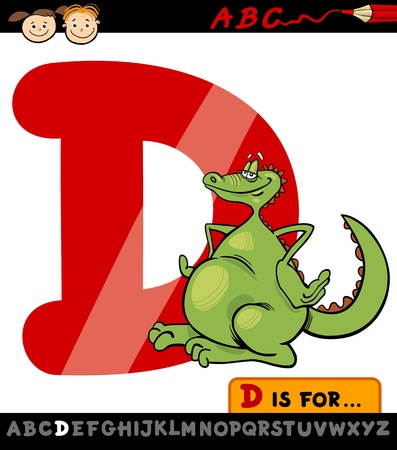 Cartoon Illustration of Capital Letter D from Alphabet with Dragon for Children Education Vector
