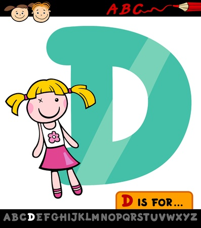 Cartoon Illustration of Capital Letter D from Alphabet with Doll for Children Education Vector