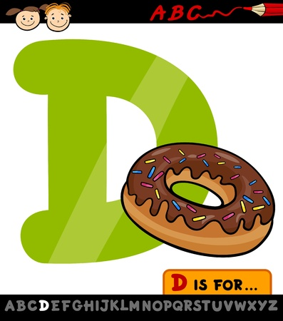 Cartoon Illustration of Capital Letter D from Alphabet with Donut for Children Education Vector