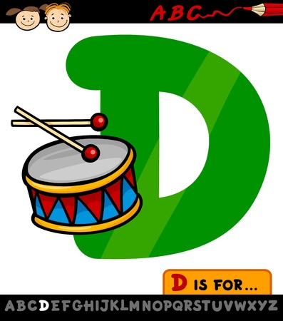Cartoon Illustration of Capital Letter D from Alphabet with Drum for Children Education Vector