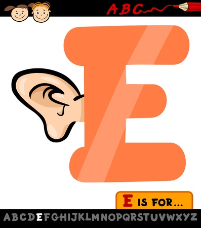 Cartoon Illustration of Capital Letter E from Alphabet with Ear for Children Education Vector