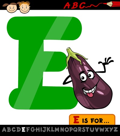 Cartoon Illustration of Capital Letter E from Alphabet with Eggplant for Children Education Vector