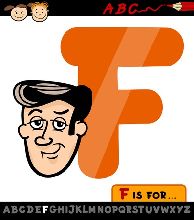 Cartoon Illustration of Capital Letter F from Alphabet with Face for Children Education Vector