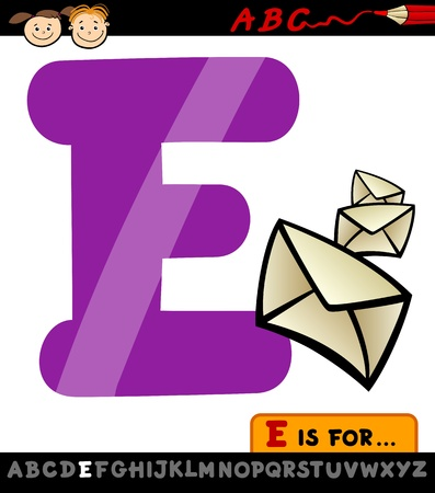 Cartoon Illustration of Capital Letter E from Alphabet with Envelope for Children Education Vector