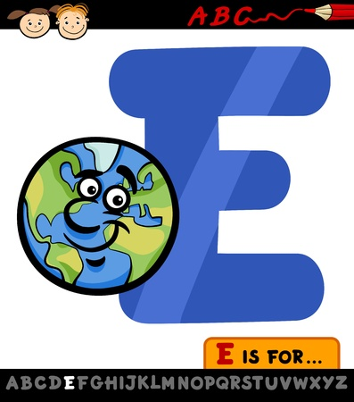 Cartoon Illustration of Capital Letter E from Alphabet with Earth for Children Education Vector