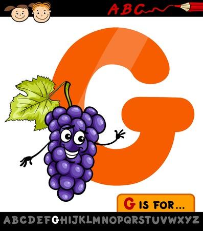 Cartoon Illustration of Capital Letter G from Alphabet with Grapes for Children Education Illustration
