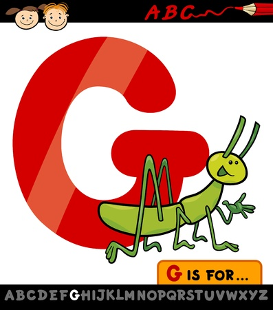 Cartoon Illustration of Capital Letter G from Alphabet with Grasshopper for Children Education Vector