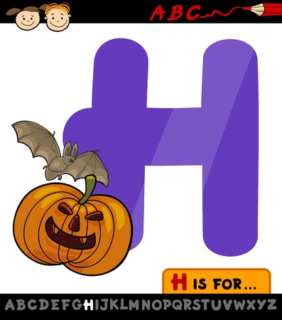 Cartoon Illustration of Capital Letter H from Alphabet with Halloween Themes for Children Education Vector