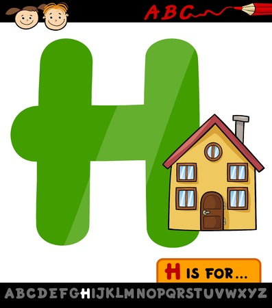 Cartoon Illustration of Capital Letter H from Alphabet with House for Children Education Vector