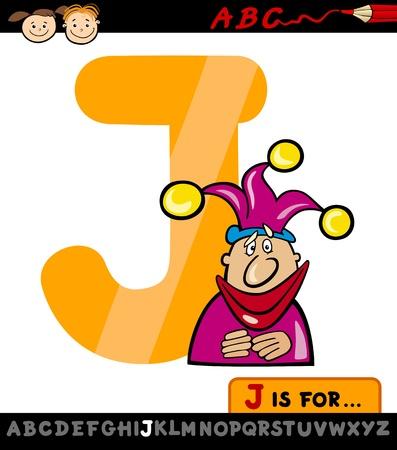 letter j: Cartoon Illustration of Capital Letter J from Alphabet with Jester for Children Education Illustration