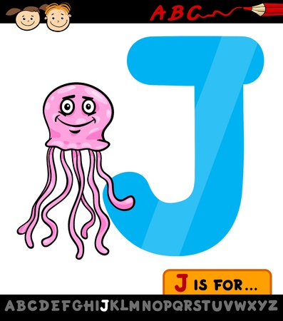 Cartoon Illustration of Capital Letter J from Alphabet with Jellyfish for Children Education Vector