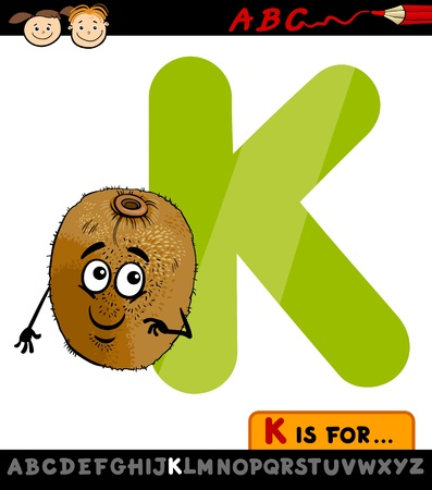 Cartoon Illustration of Capital Letter K from Alphabet with Kiwi for Children Education Vector