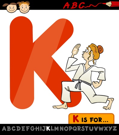 Cartoon Illustration of Capital Letter K from Alphabet with Karate for Children Education Vector