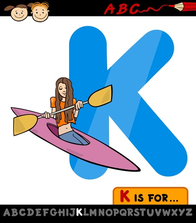 Cartoon Illustration of Capital Letter K from Alphabet with Kayak for Children Education Vector