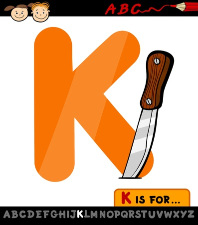 letter k: Cartoon Illustration of Capital Letter K from Alphabet with Knife for Children Education