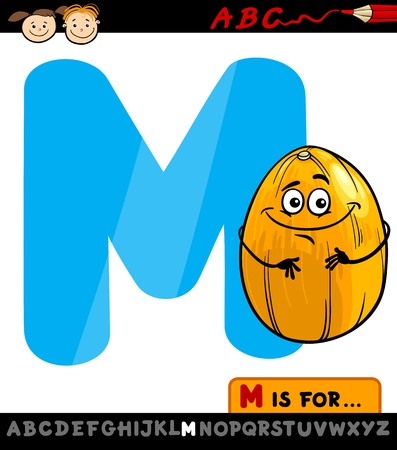 Cartoon Illustration of Capital Letter M from Alphabet with Melon for Children Education Vector