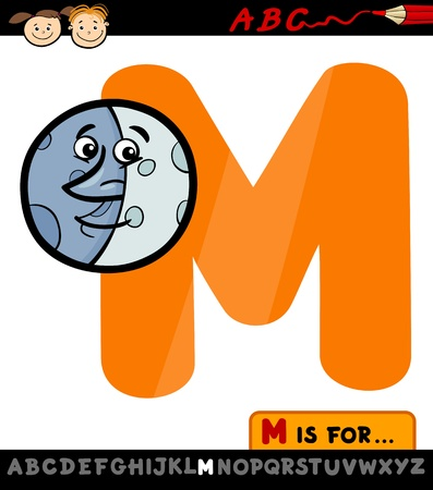 Cartoon Illustration of Capital Letter M from Alphabet with Moon for Children Education Vector