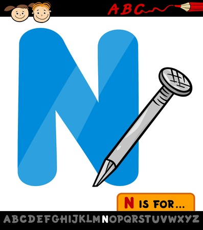 letter n: Cartoon Illustration of Capital Letter N from Alphabet with Nail for Children Education