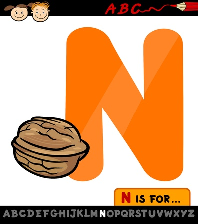 letter n: Cartoon Illustration of Capital Letter N from Alphabet with Nut for Children Education