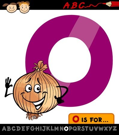 spelling book: Cartoon Illustration of Capital Letter O from Alphabet with Onion for Children Education