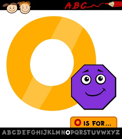 spelling: Cartoon Illustration of Capital Letter O from Alphabet with Octagon for Children Education