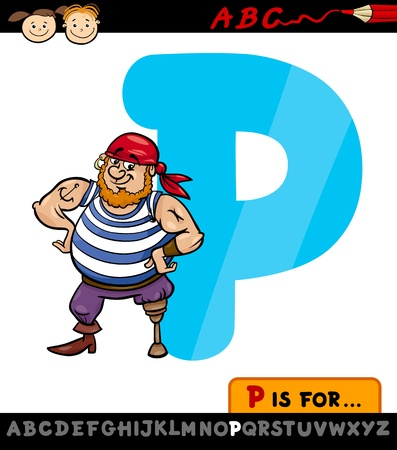 Cartoon Illustration of Capital Letter P from Alphabet with Pirate for Children Education Vector