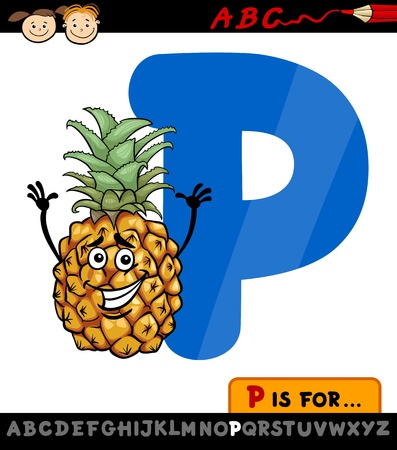 letter p: Cartoon Illustration of Capital Letter P from Alphabet with Pineapple for Children Education Illustration