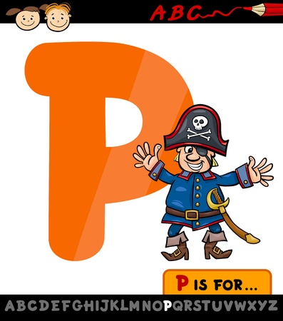 letter p: Cartoon Illustration of Capital Letter P from Alphabet with Pirate for Children Education