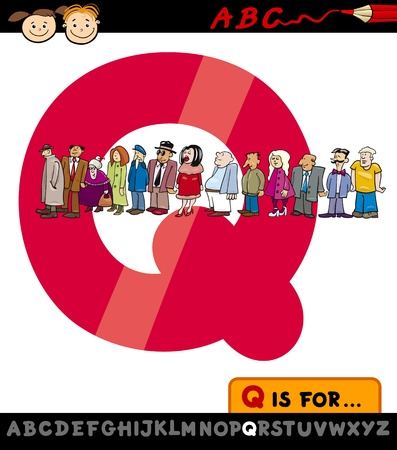 Cartoon Illustration of Capital Letter Q from Alphabet with Queue for Children Education