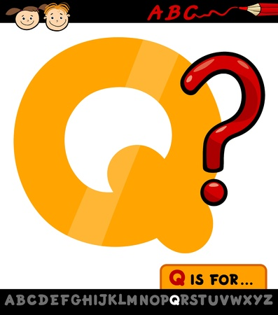 spelling book: Cartoon Illustration of Capital Letter Q from Alphabet with Question Mark for Children Education Illustration