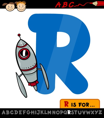 spelling: Cartoon Illustration of Capital Letter R from Alphabet with Rocket for Children Education