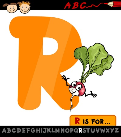 letter r: Cartoon Illustration of Capital Letter R from Alphabet with Radish for Children Education