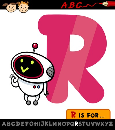 Cartoon Illustration of Capital Letter R from Alphabet with Robot for Children Education Vector
