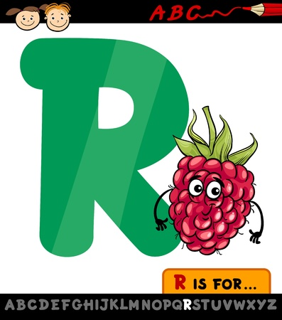 Cartoon Illustration of Capital Letter R from Alphabet with Raspberry for Children Education Illustration