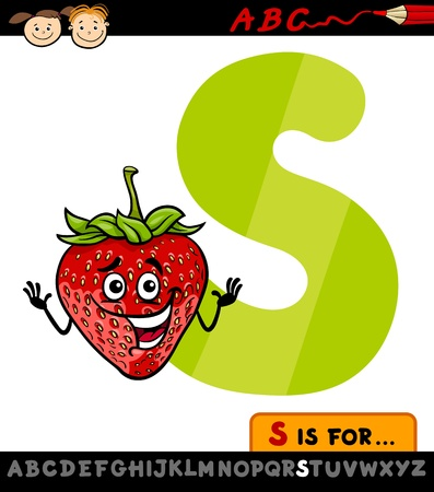 child s: Cartoon Illustration of Capital Letter S from Alphabet with Strawberry for Children Education Illustration