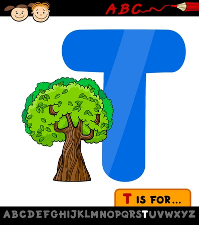 Cartoon Illustration of Capital Letter T from Alphabet with Tree for Children Education Vector