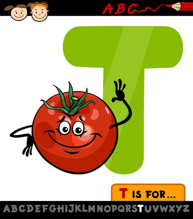 Cartoon Illustration of Capital Letter T from Alphabet with Tomato for Children Education Vector
