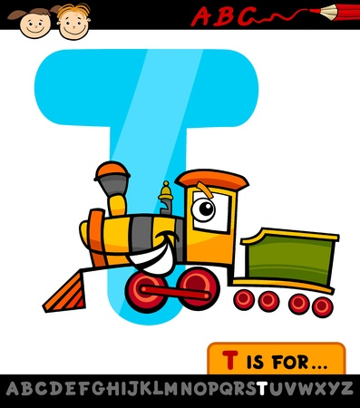 Cartoon Illustration of Capital Letter T from Alphabet with Train for Children Education Vector