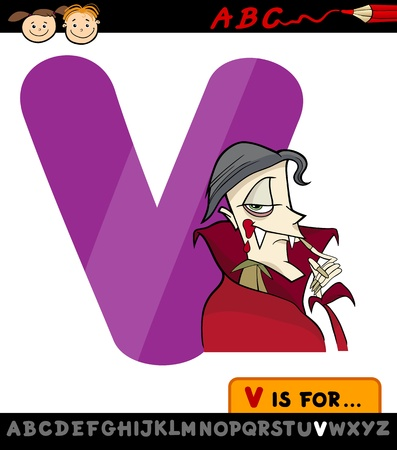 Cartoon Illustration of Capital Letter V from Alphabet with Vampire for Children Education Vector