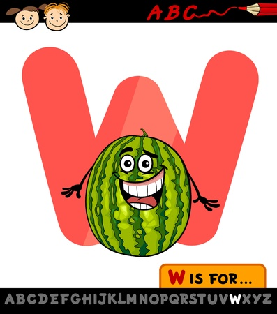 Cartoon Illustration of Capital Letter W from Alphabet with Watermelon for Children Education Illustration