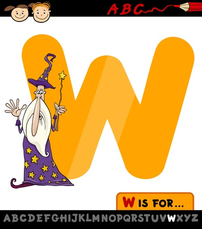 Cartoon Illustration of Capital Letter W from Alphabet with Wizard for Children Education Vector