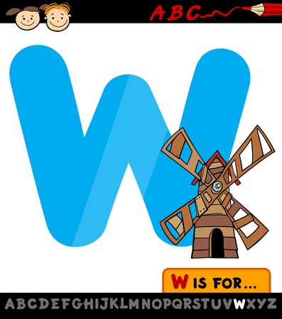 Cartoon Illustration of Capital Letter W from Alphabet with Windmill for Children Education Vector