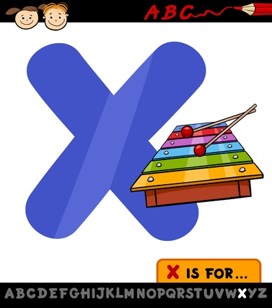 xylophone: Cartoon Illustration of Capital Letter X from Alphabet with Xylophone for Children Education Illustration