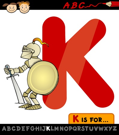 Cartoon Illustration of Capital Letter K from Alphabet with Knight for Children Education Vector