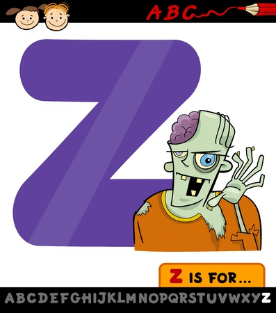 Cartoon Illustration of Capital Letter Z from Alphabet with Zombie for Children Education Vector
