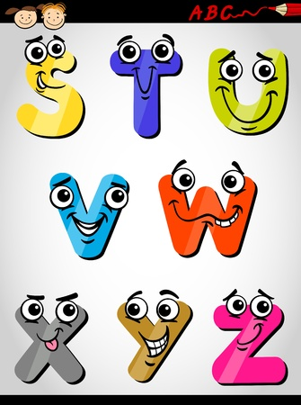Cartoon Illustration of Funny Capital Letters Alphabet from S to Z for Children Education Vector