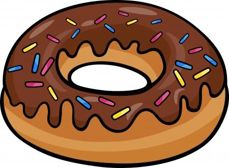 Ilustración de dibujos animados de Sweet Cake Donut con chocolate Clip Art