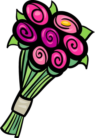 flower clip art: Cartoon Illustration of Flowers Bunch or Bouquet Clip Art